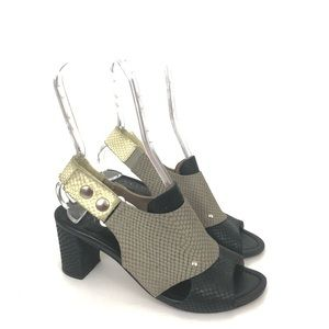 ANYI LU Athena Slingback Snake Sandal 38 US 8